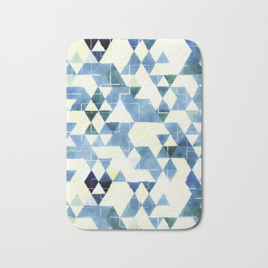 Abstract Blue Triangles, Watercolor Pattern Bath Mat