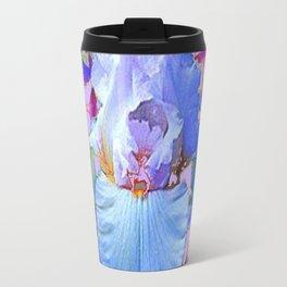 PASTEL IRIS & BLUE  FLOWERS  GREY PATTERNS ART Travel Mug
