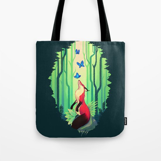 The Fox and the Butterflies Tote Bag