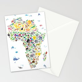 Animal Map of Africa for children and kids Stationery Cards