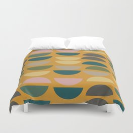 Geometric Graphic Design Shapes Pattern in Mustard Yellow Duvet Cover