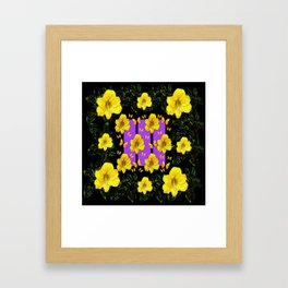 BLACK ART  YELLOW AMARYLLIS FLOWERS BUTTERFLY FLORAL Framed Art Print