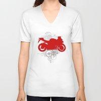 racing V-neck T-shirts featuring Racing by Ezgi Kaya