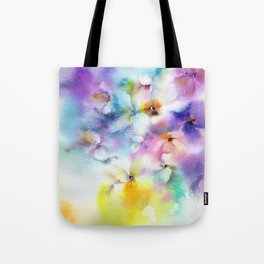 Abstract flowers. Watercolor floral pattern. Colorful delicate florals. Tote Bag
