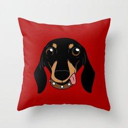 Say hi to the cute Dachshund your short-legged doggie friend Throw Pillow