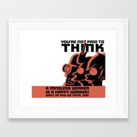 zoidberg Framed Art Prints featuring You're not paid to think by OverClocked