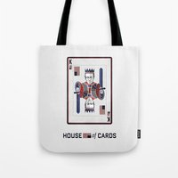 house of cards Tote Bags featuring House of cards Playing card  by Lewys Williams