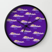 lakers Wall Clocks featuring LAKERS HAND-DRAWING DESIGN by SUNNY Design