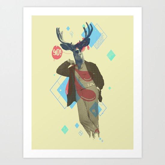 Yo! Deer Man Art Print