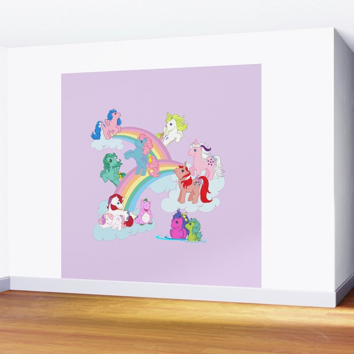 G1 My Little Pony Early Characters Group Wall Mural By Gertee Society6