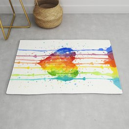 Rainbow Heart Watercolor Rug