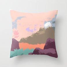 Pink Sky Mountain Throw Pillow