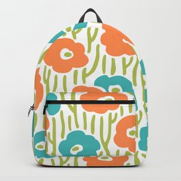 Mid Century Modern Wild Flowers Turquoise and Orange 391 Backpack