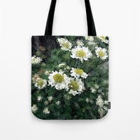 pushing daisies Tote Bags featuring Pushing Daisies  by Little Krampus