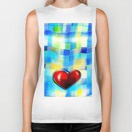 Heart on Bluish Tile Pattern Biker Tank