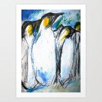 penguins Art Prints featuring Penguins by James Peart
