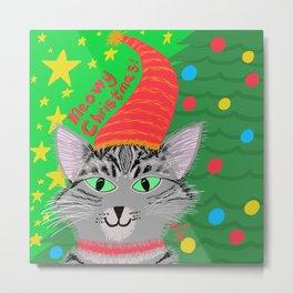 Christmas Cat Long hair grey tabby green eyes Metal Print