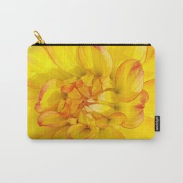 A Yellow Dahlia with Pink tips Close Up Detail Carry-All Pouch