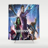 guardians of the galaxy Shower Curtains featuring guardians of the galaxy by store2u