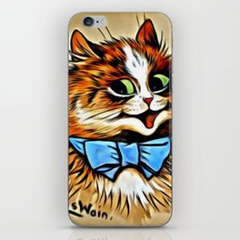 "Louis Wain's Cats ""Tabby with Blue Bow"" iPhone Skin"