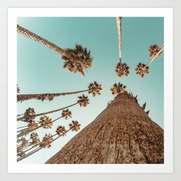 {1 of 2} Hug a Palm Tree // Tropical Summer Teal Blue Sky Art Print
