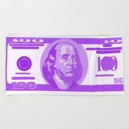 BIG PURPLE 100 DOLLAR BILL BEN FRANKLIN $$$ Beach Towel