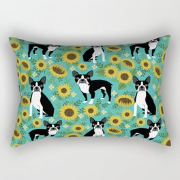 Boston Terrier sunflower floral dog breed pet portrait pet friendly pattern dogs gifts Rectangular Pillow