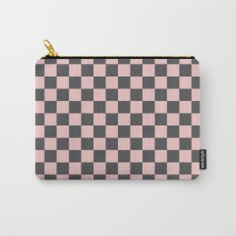 Gingham Millennial Pink Blush Rose Quartz Coco Brown Neapolitan Checked Carry-All Pouch