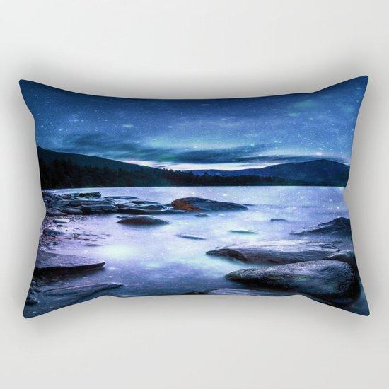 Magical Mountain Lake Blue Rectangular Pillow