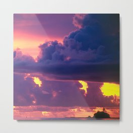 Purple Sunset Over Tiny Island in Micronesia Metal Print
