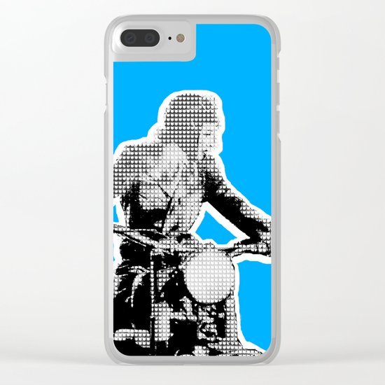Blue Riding Lady Clear iPhone Case