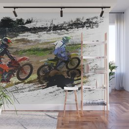 On His Tail - Motocross Sports Art Wall Mural