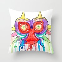 majoras mask Throw Pillows featuring Majoras Mask Splatter by ysocrazeh