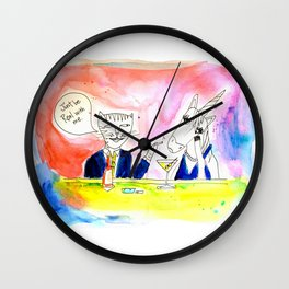 Be real - Cat and Unicorn meet in a bar Wall Clock