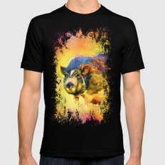 Jazzy Pig Colorful Animal Art by Jai Johnson Black Mens Fitted Tee MEDIUM