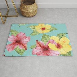 Tropical Hawaiian Hibiscus Floral Print Rug