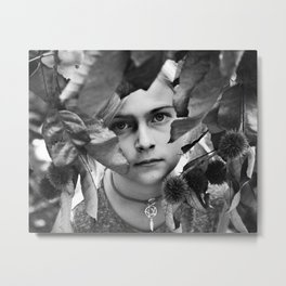 From Her Hiding Spot Beneath the Branches Metal Print