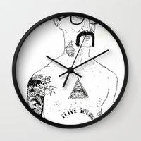 stanley kubrick Wall Clocks featuring Stanley by David Penela