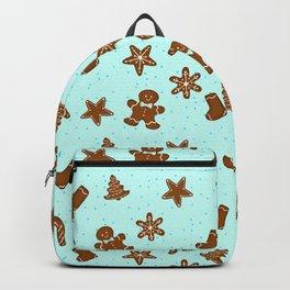 Gingerbread Pattern Blue Backpack