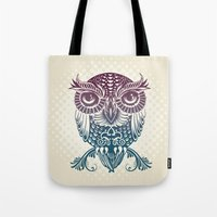 egyptian Tote Bags featuring Baby Egyptian Owl by Rachel Caldwell