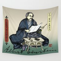 einstein Wall Tapestries featuring Samurai Albert Einstein by QStar