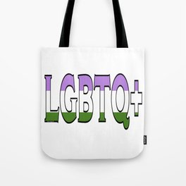 LGBTQ+ Font with Queer Flag Tote Bag