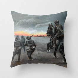 Vintage First World War Art - JM's Sketchbook - Soldiers marching at night Throw Pillow