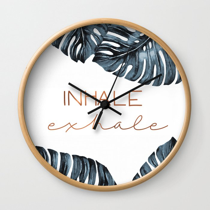 Inhale Exhale, Monstera Leafs, copper Wall Clock