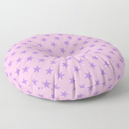 Lavender Violet on Cotton Candy Pink Stars Floor Pillow