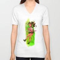 sailor jupiter V-neck T-shirts featuring Sailor Jupiter by Peach Mork