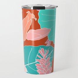 Coral Ginger Flowers + Elephant Ears in Rust Travel Mug