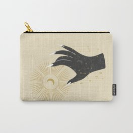 Mystic 94 Minimalist Magical Astrological Illustration Black Hand Grasping Moon Symbol Yellow Pastel Gothic Boho Bohemian Style Carry-All Pouch