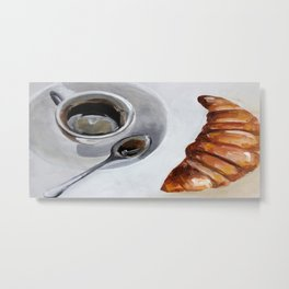 French breakfast, coffee and croissant, original oil painting, daily art Metal Print