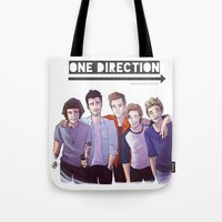 one direction Tote Bags featuring One Direction by Gianbe